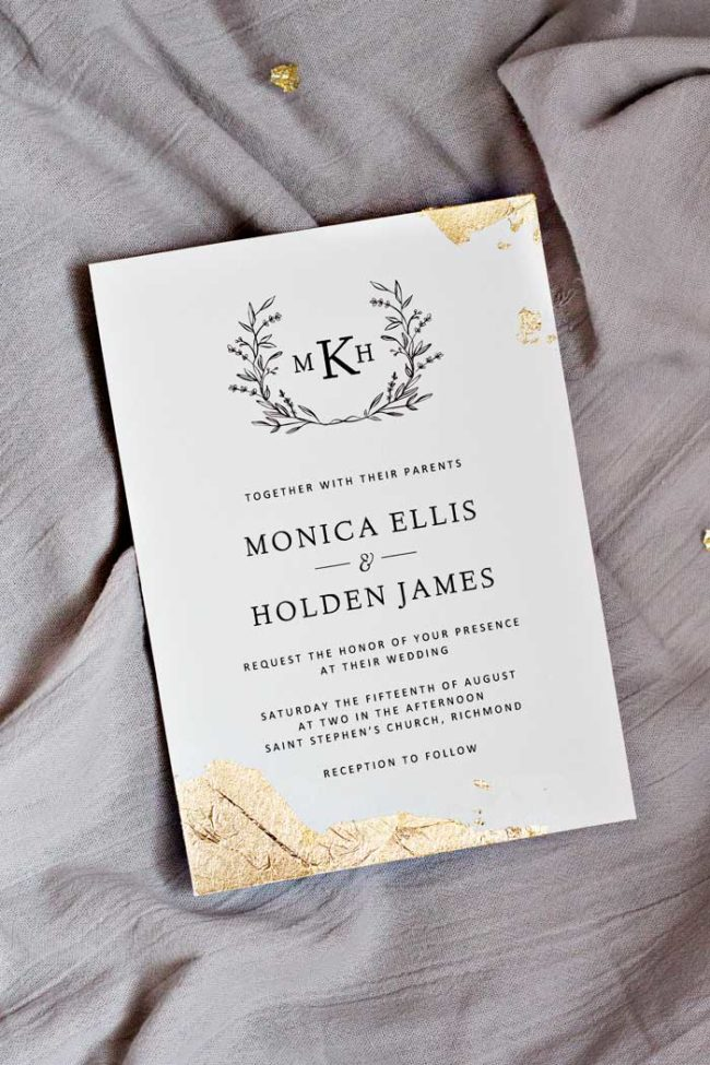 Gold Leaf Wedding Invitations Pipkin Paper Company