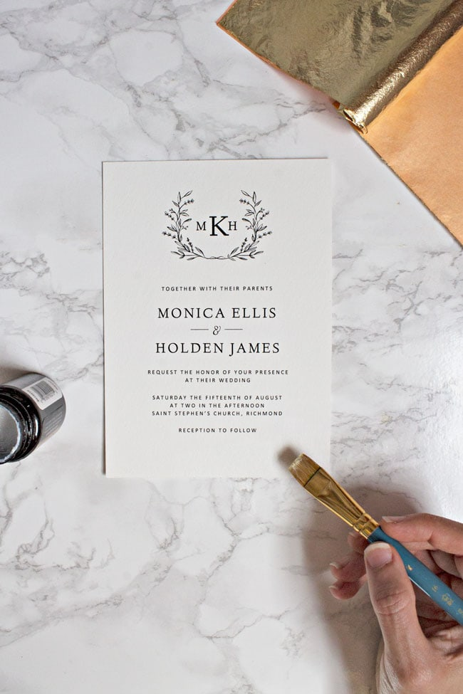 We'll show you how to take your printable wedding invitations to another level with just a little bit of glue and a few sheets of gold foil.