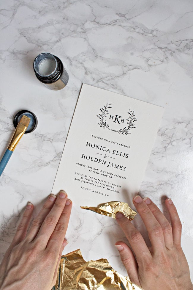 Gold leaf wedding invitations pipkin paper company well show you how to take your printable wedding invitations to another level with solutioingenieria Images
