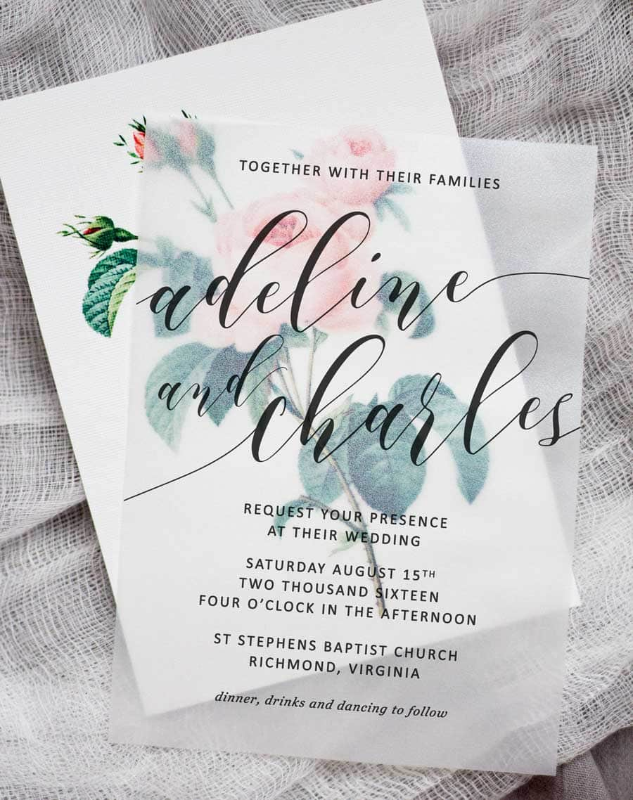 Diy floral wedding invitations pipkin paper company make these sweet floral wedding invitations using nothing more than a store bought template vellum solutioingenieria Image collections