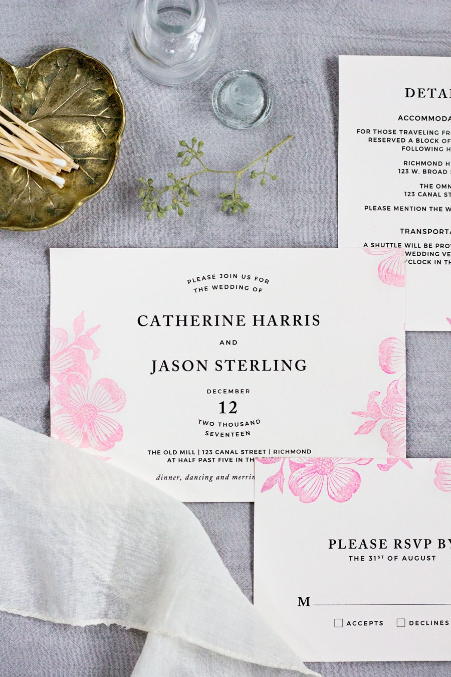 STAMPED FLORAL WEDDING INVITATIONS