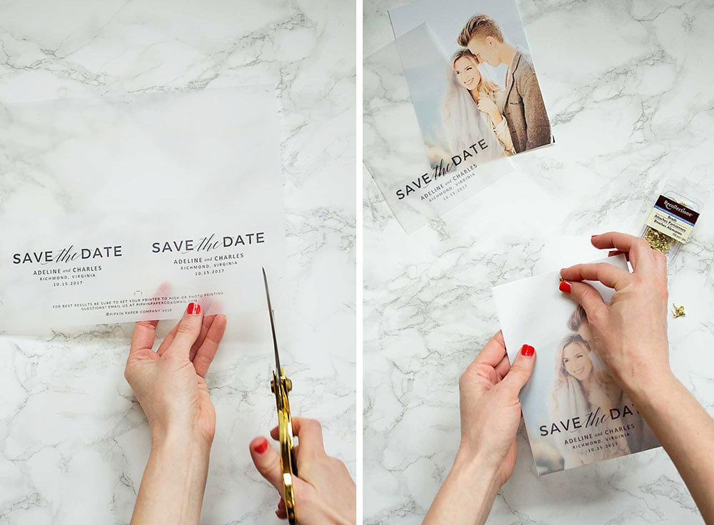 Make these gorgeous save the dates at home with this free save the date template!