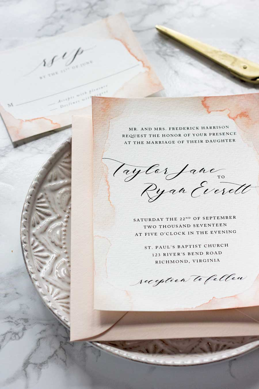 SUBTLE WATERCOLOR WEDDING INVITATIONS + HOW TO MAKE YOUR OWN ...