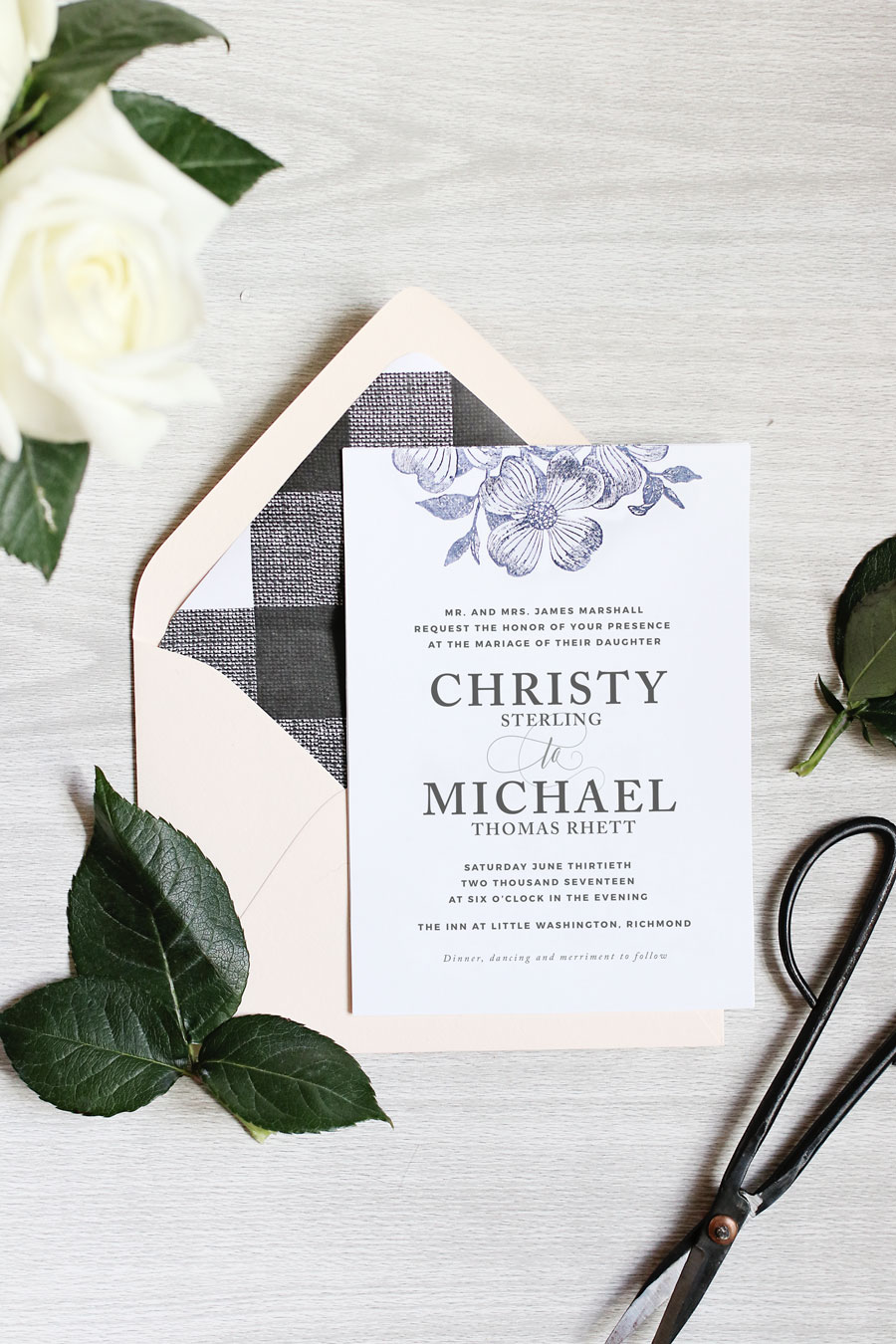 STAMPED FLORAL WEDDING INVITATIONS | Pipkin Paper Company
