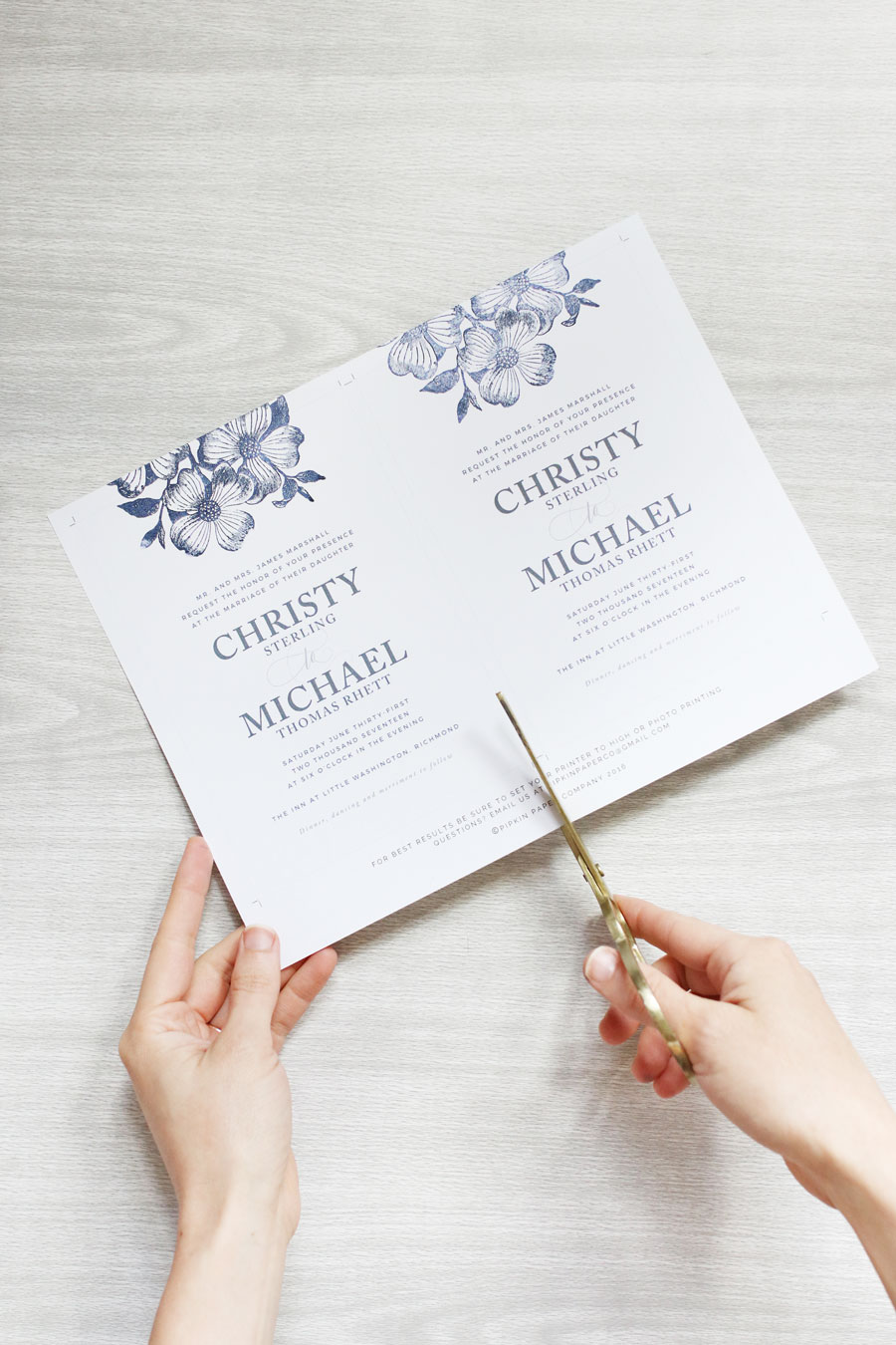 STAMPED FLORAL WEDDING INVITATIONS Pipkin Paper Company