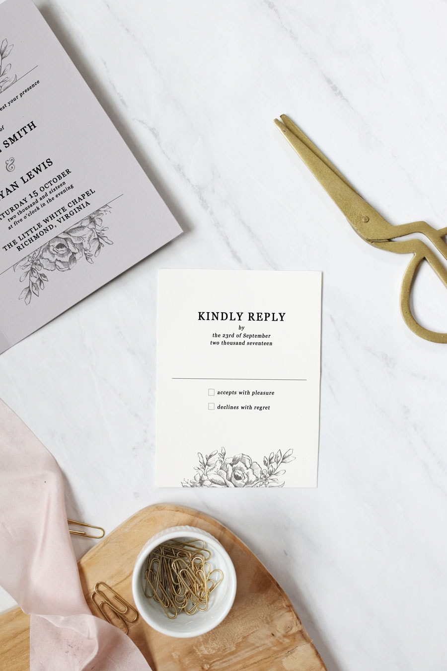 These DIY folded wedding invitations are more like keepsakes than expenses. Make good use of the extra space for displaying a favorite quote or bible verse.