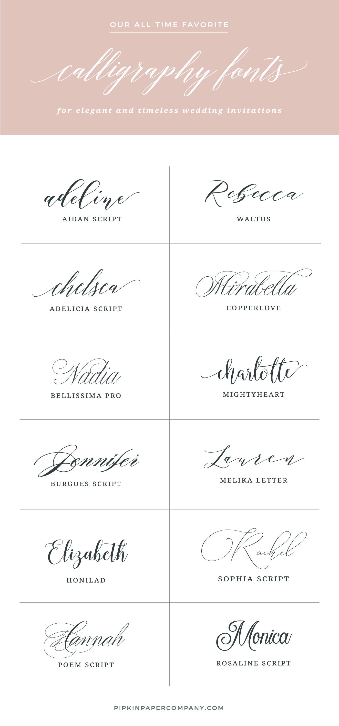 THE BEST FONTS FOR WEDDING INVITATIONS | Pipkin Paper Company