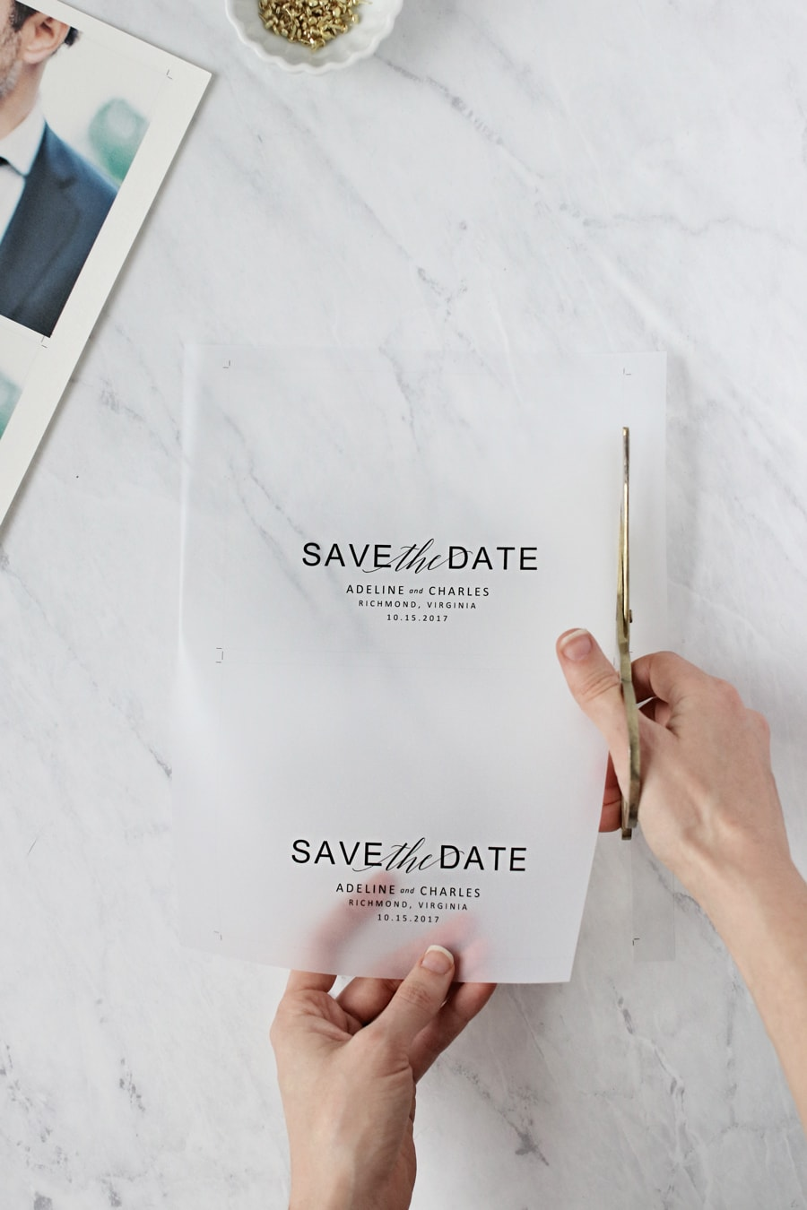 Think you can't make gorgeous save the dates at home? Use one of our free templates to make these vellum save the dates. We promise your guests will love them.