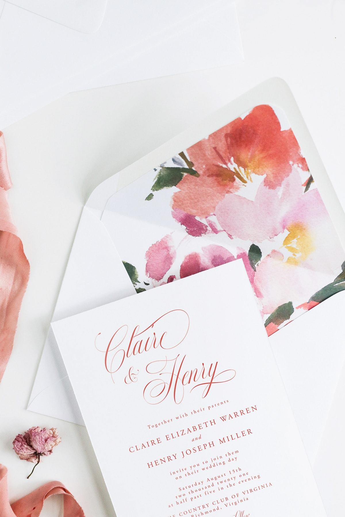 DIY Wedding Invitation Card Barcelona Envelopes pack of 25